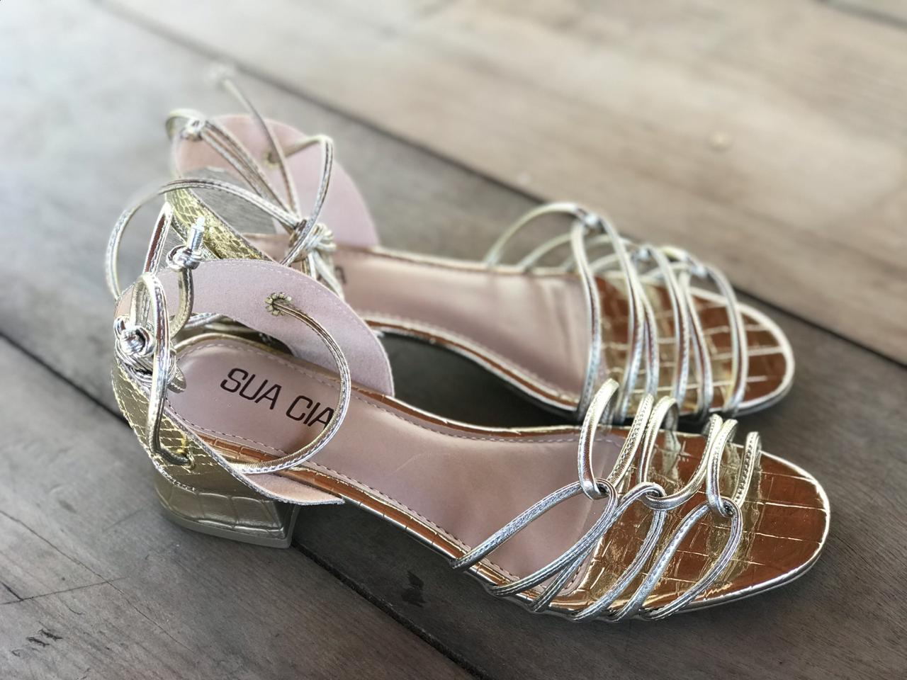 Sandália Metalizada Gold Sua Cia