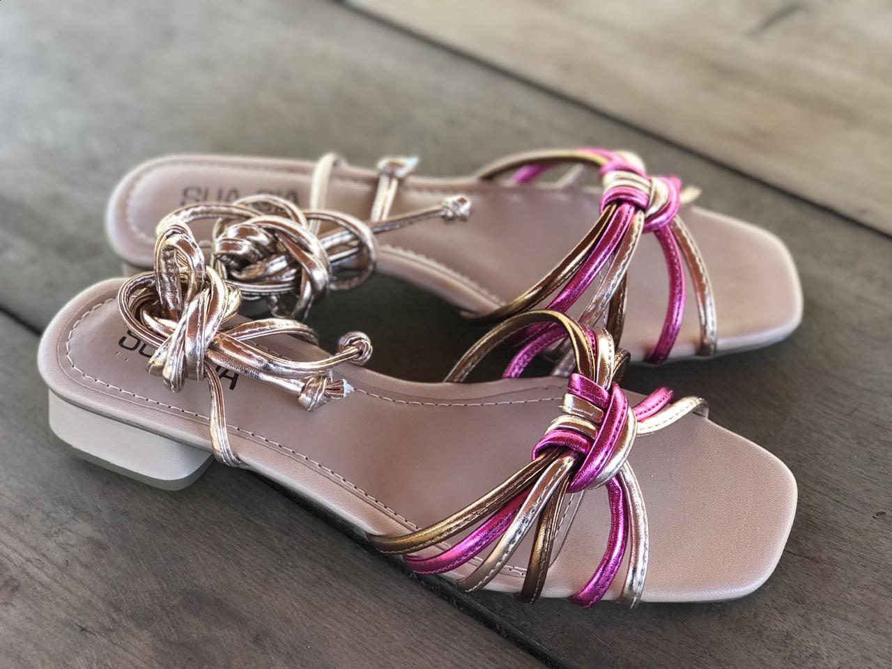 Sandália Metalizada Pink, Bronze e Dourada com Amarração Sua Cia
