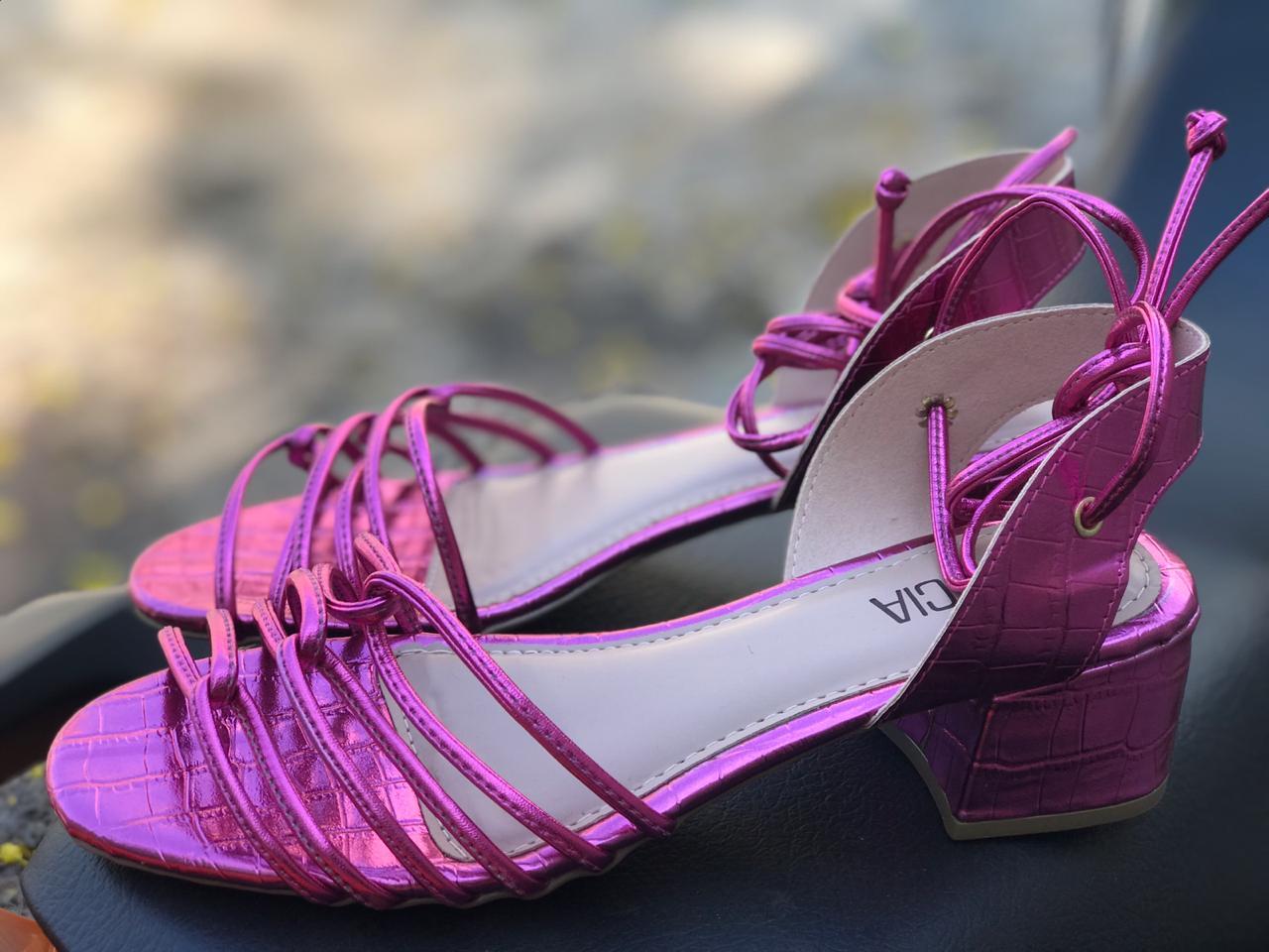 Sandália Metalizada Pink Sua Cia
