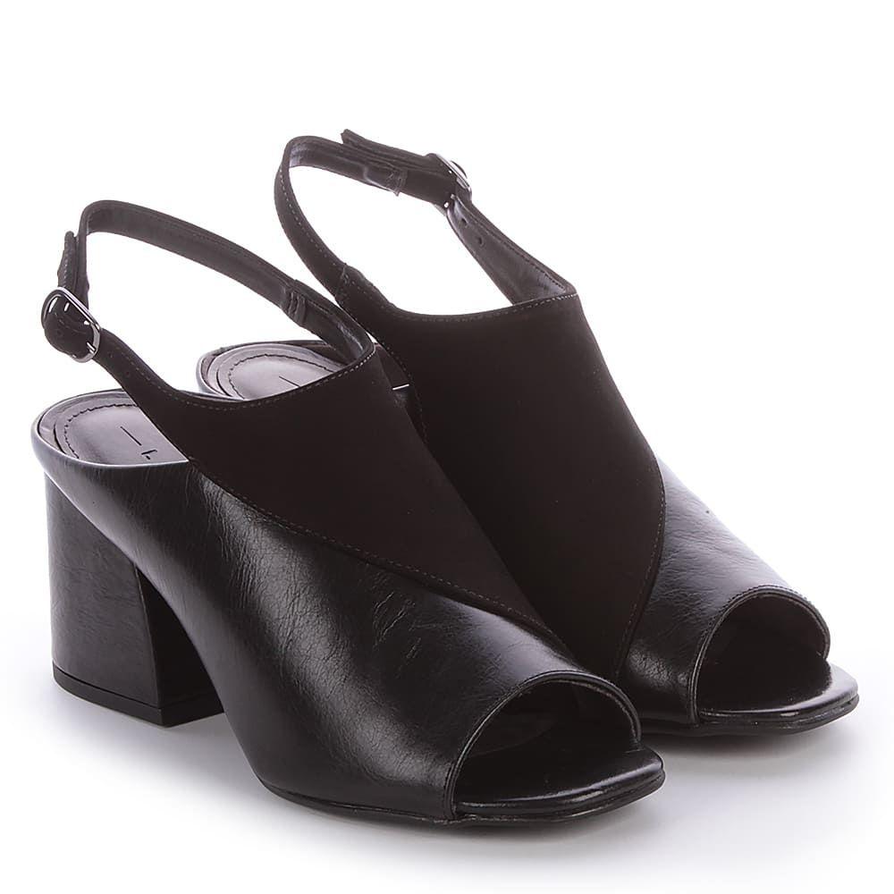 Sandália Open Boot de Couro Preta Lia Line