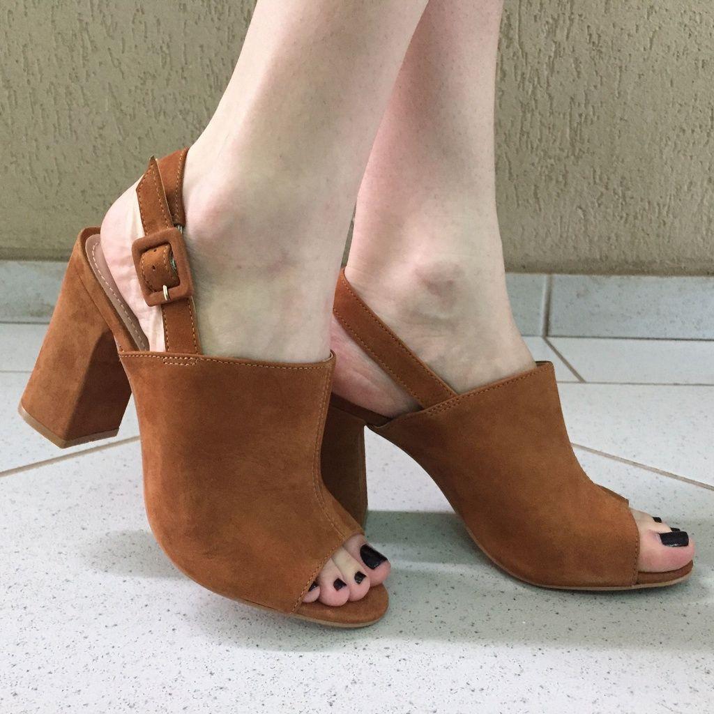 Sandália Open Boot de Nobuck Caramelo Lia Line