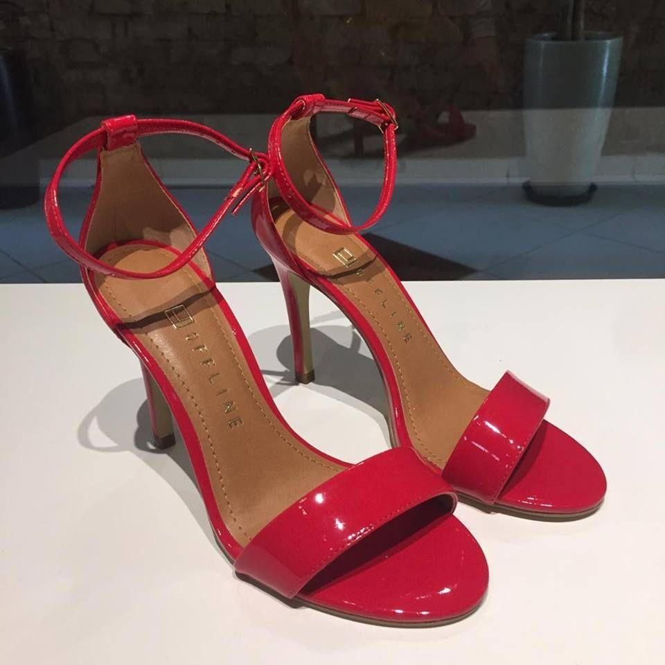 Sandália Vermelha Salto Fino Offline