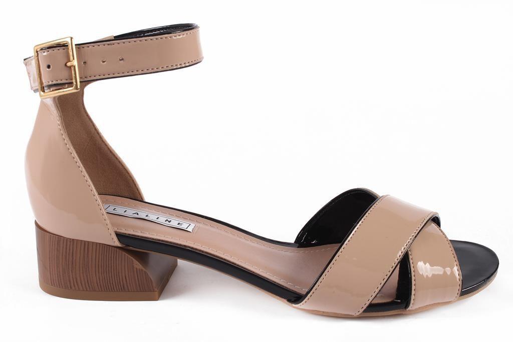 d0e72f0813 sandalia verniz nude salto quadrado lia line - Busca na Liêz Calçados