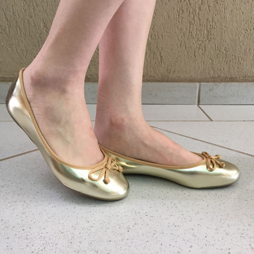 Sapatilha Bico Redondo Metalic Gold Sua Cia