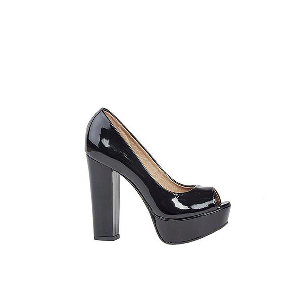 Sapato Peep Toe de Verniz Preto Lia Line