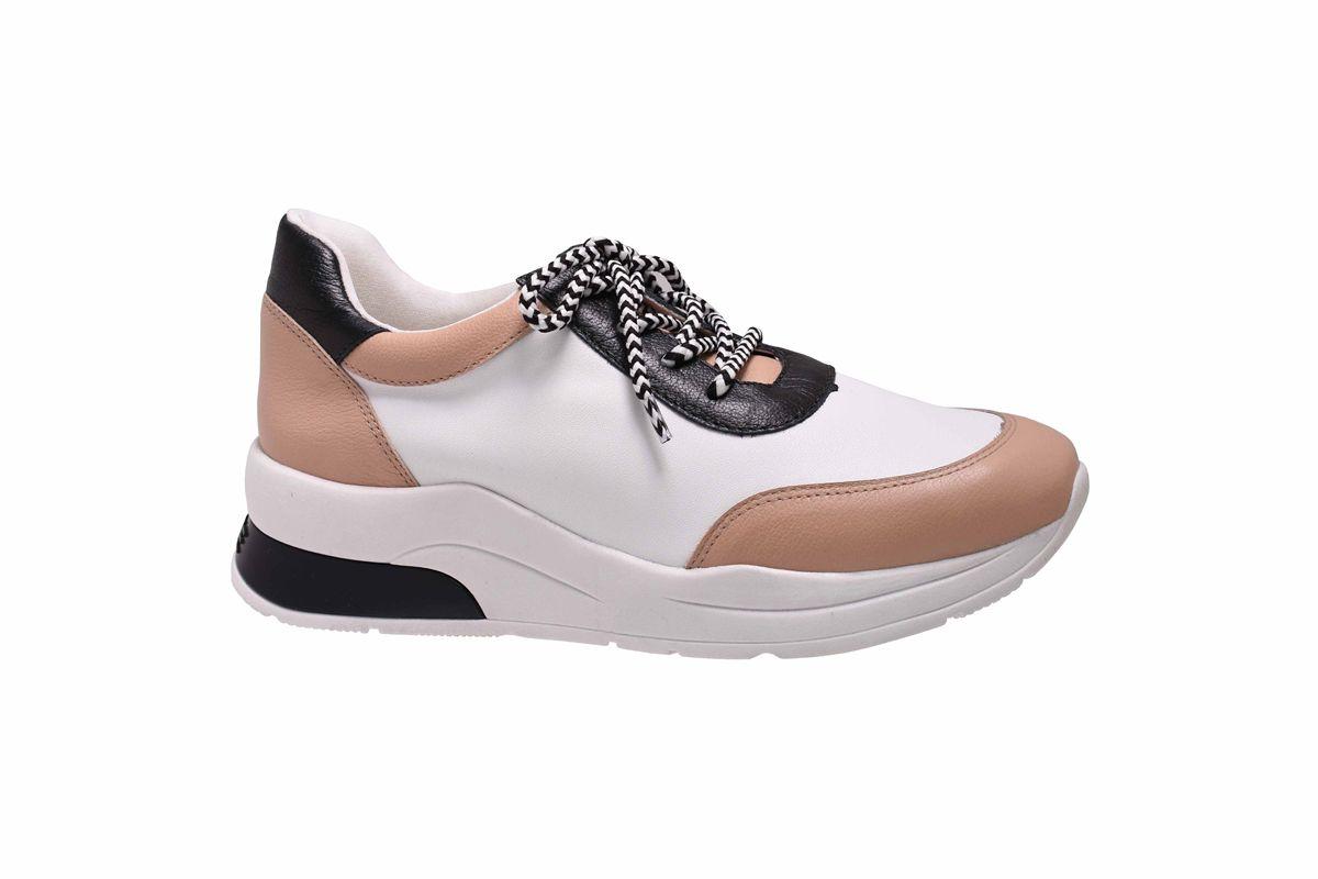 Tênis Chunky Sneaker Branco com Nude e Preto Lia Line