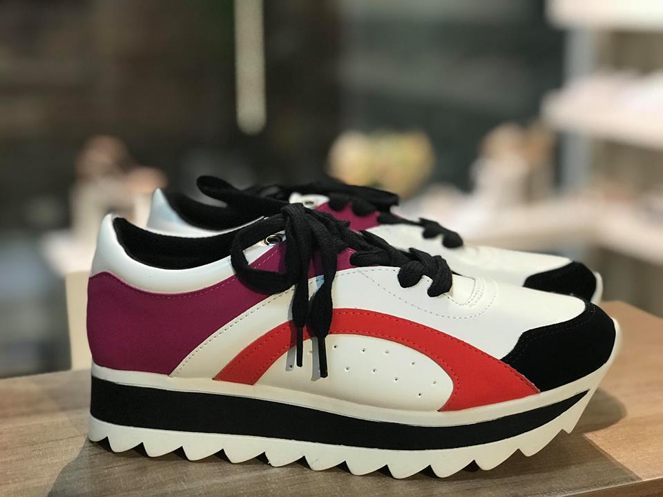 Tênis Chunky Sneaker com Detalhes Pink, Preto e Vermelho Zatz