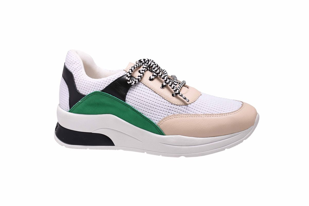 Tênis Chunky Sneaker Nude com Verde Lia Line