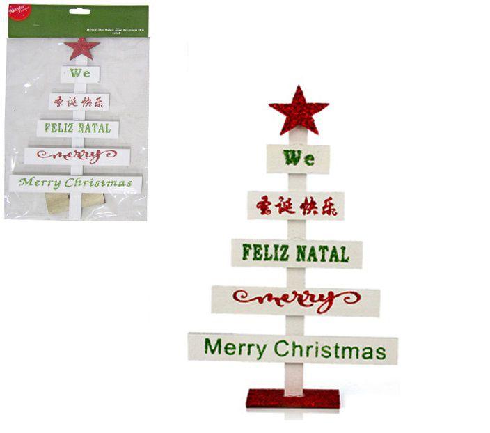 Árvore de Natal com Bons Desejos de Madeira para Enfeitar a Mesa 28cm