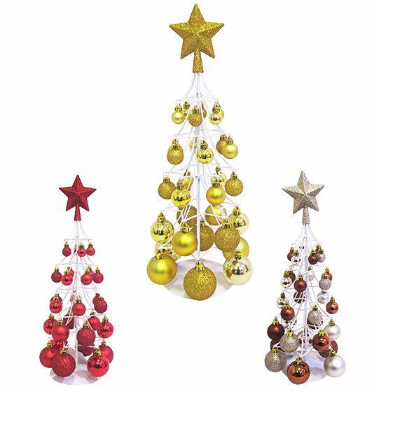 Árvore de Natal Já Vai Decorada com 30 Bolinhas e 1 Estrela - 40x18cm