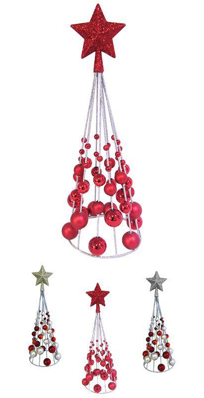 Árvore de Natal Já Vai Decorada com 48 Bolinhas e 1 Estrela - 38x13cm