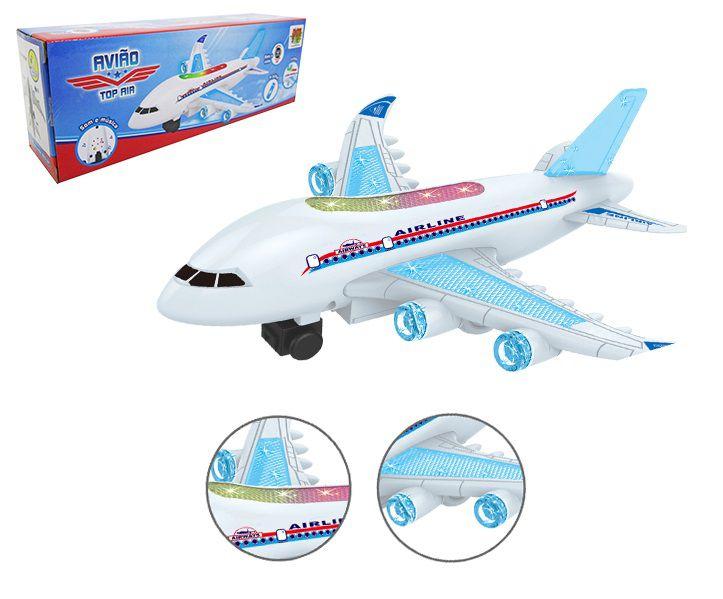 Avião Top Air  Bate e Volta com Som e Luz 26,5 x 22 cm