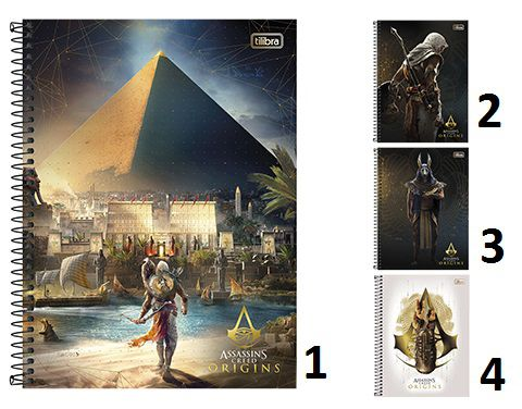 CADERNO ASSASSINS CREED ORIGINS UNIVERSITÁRIO (10X1) 200 FOLHAS