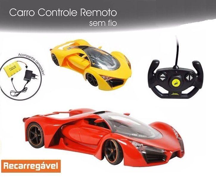 Carro com Controle Remoto Sem Fio Sport Com Luz