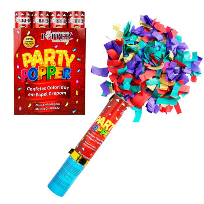 CONFETES COLORIDOS EM PAPEL CREPOM PARTY POPPER