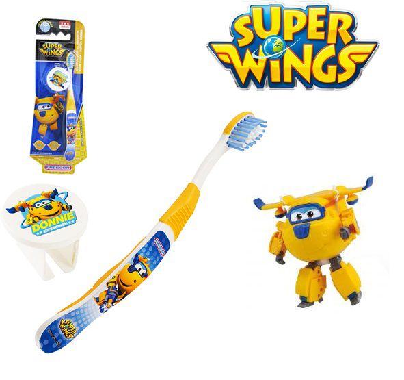 Escova dental Infantil Cerdas Macias com Capa Protetora Super Wings - Donnie
