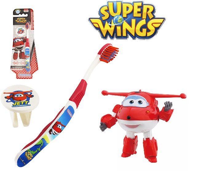 Escova dental Infantil Cerdas Macias com Capa Protetora Super Wings - Jett