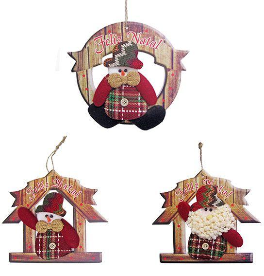 Guirlanda Feliz Natal de E.V.A Decorado com Papai Noel e Boneco de Neve 19x17cm