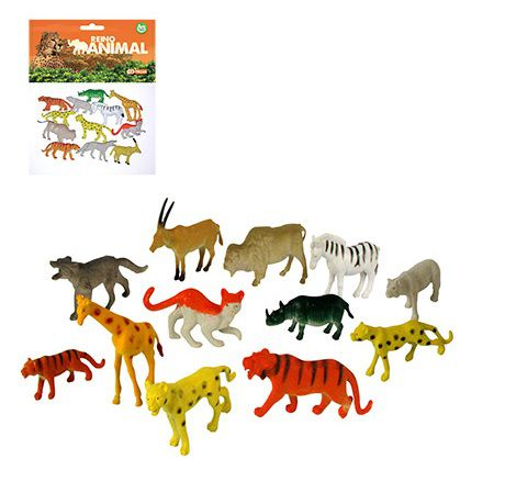 Kit 12 Peças Reino Animal - 12 Especies de Animais  de Borracha