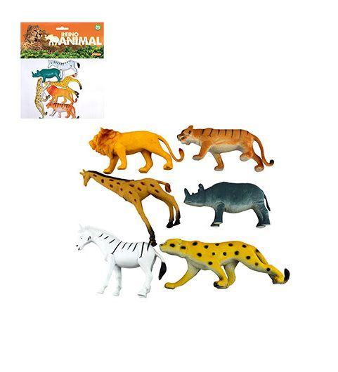 KIT 6 PEÇAS REINO ANIMAL GRANDES -6 ANIMAIS SELVAGENS DE BORRACHA SORTIDOS