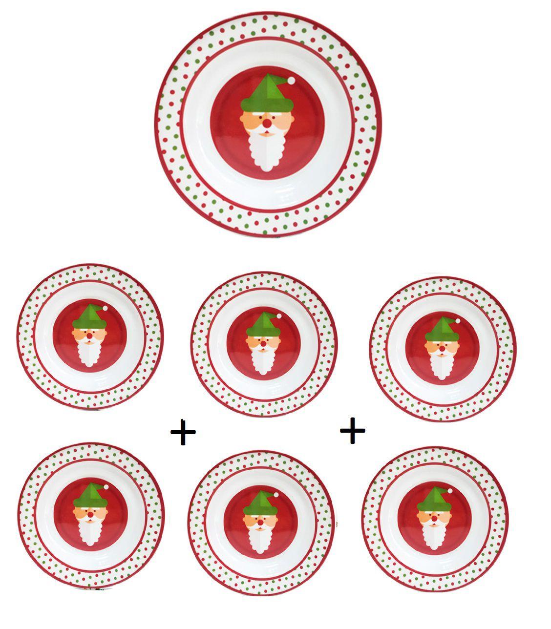 Kit 6 unidades Pratos Fundo Redondo de Melamina com Decoração Natalinas Papai Noel 22 cm Ø