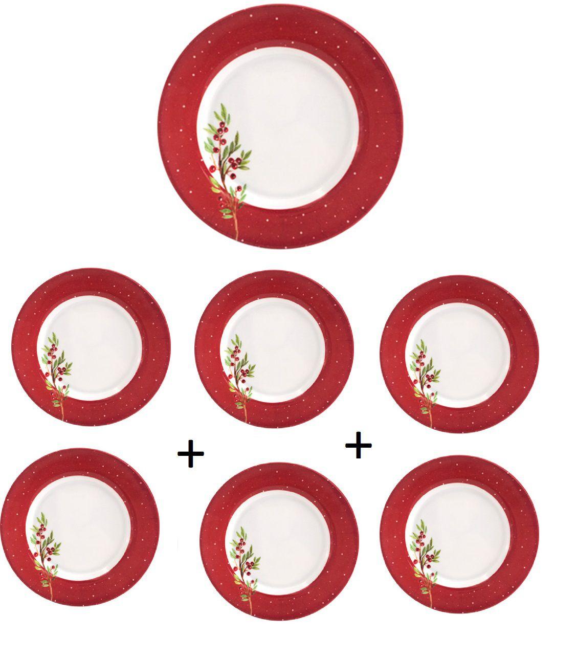 Kit 6 unidades Pratos para Sobremesa Redondo de Melamina com Decoração de Ramo Azevinho Natalinas 15 cm Ø