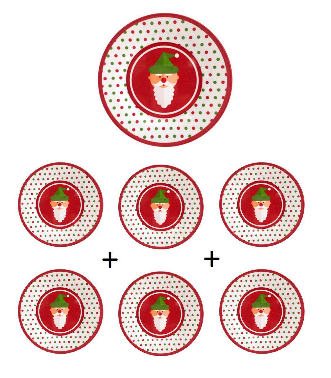 Kit 6 unidades Pratos Raso Redondo de Melamina com Decoração de Papai Noel Natalinas 25 cm Ø