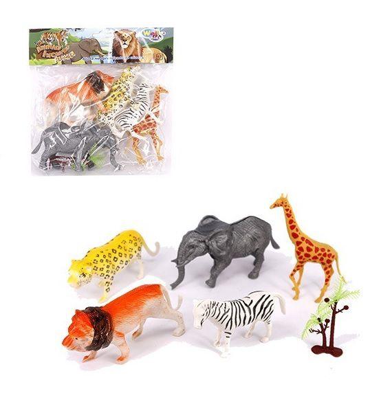 KIT ANIMAL SELVAGEM DE PLASTICO SIMPLES COM 5 ANIMAIS