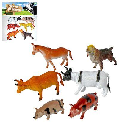 KIT ANIMAL VIDA NA FAZENDA COM 6 ANIMAIS DE VINIL SORTIDOS
