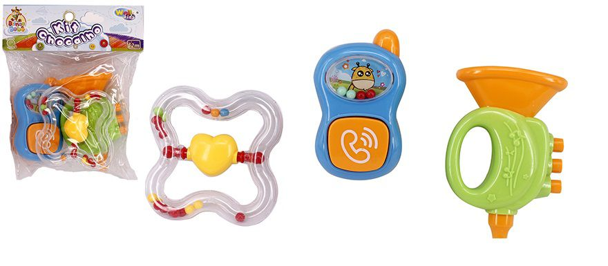 Kit com 3 Chocalhos Diferentes Coloridos e Divertidos Brinca Bebê