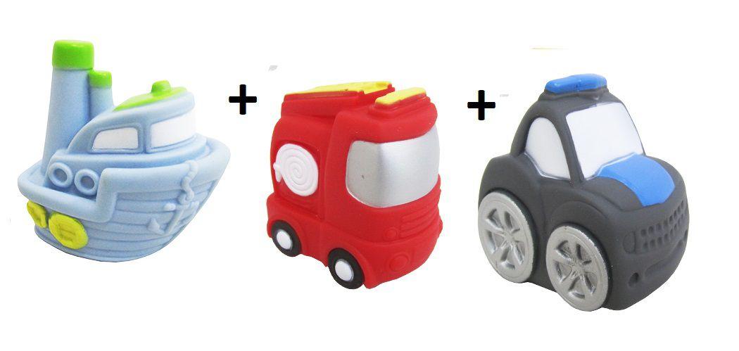 Kit com 3 Veículos de Transporte Diferentes Brinquedo de Vinil para Bebê a Partir de 3 Meses