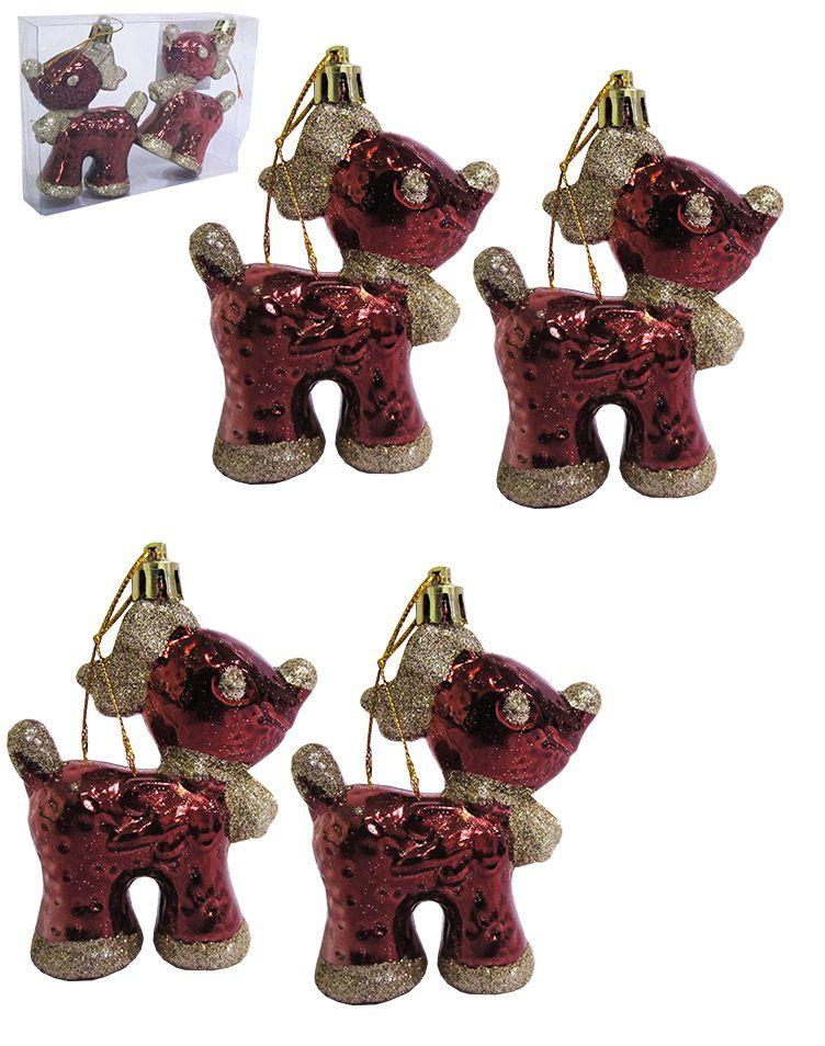 Kit com 4 Renas com Detalhes em Glitter Enfeite Decorativo de Pendurar 9x5cm