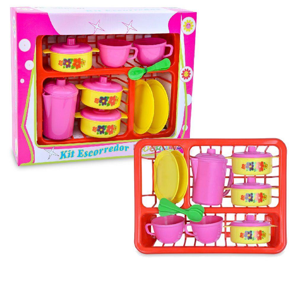 Kit Cozinha Infantil com Escorredor + Panela e Vários Acessórios