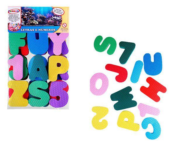 Kit E.V.A Letras e Números Gigantes Fofas e Coloridas com 36 Peças