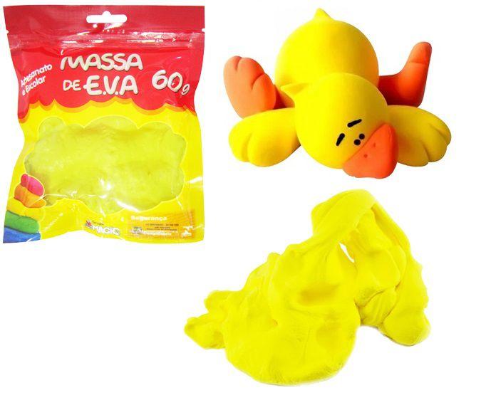 Massa de EVA Lisa para Artesanato Amarelo 60gr