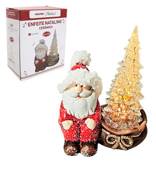 Papai Noel  Sentado ao lado de um Lindo Pinheiro Iluminado Decoração Natalina 15x12,5x9cm