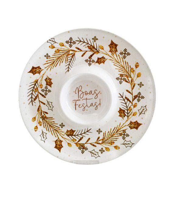 Petisqueira Redonda com 2 Divisórias de Melamina com Decoração Natalinas Boas Festas 30 cm Ø