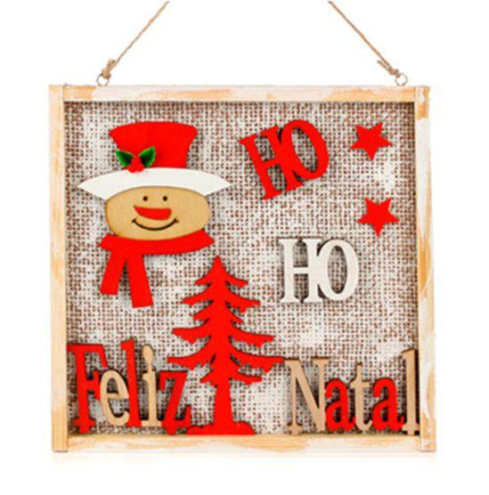 Quadro de Madeira Boneco de Neve Feliz Natal Enfeite Decorativo de Pendurar 24cm