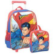 Kit Mochila De Carrinho Escolar e Lancheira Superman
