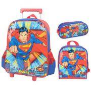 Kit Mochila De Carrinho Escolar, Lancheira E Estojo Superman