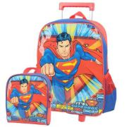 Kit Mochila De Carrinho Escolar E Lancheira Superman Azul