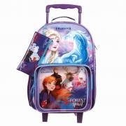 Kit Escolar Mochila Carrinho, Lancheira e Estojo Frozen 2