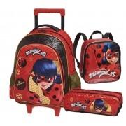 Kit Escolar Mochila com Carrinho, Lancheira e Estojo Miraculous Ladybug