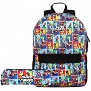 Kit Escolar Mochila e Estojo Juvenil - Super Mario
