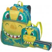 Kit Escolar Mochila, Lancheira e Estojo Pack Me Dino Fun