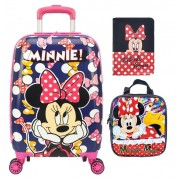 Kit Mala Escolar/Viagem, Lancheira, Porta Passaporte/Documentos  Minnie Mouse