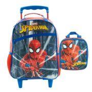KIT Mochila com carrinho e Lancheira Escolar Homem Aranha