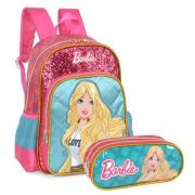 Kit  Mochila Escolar e Estojo Barbie Juvenil