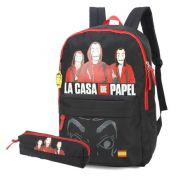 Kit Mochila Escolar Notebook e Estojo La Casa De Papel