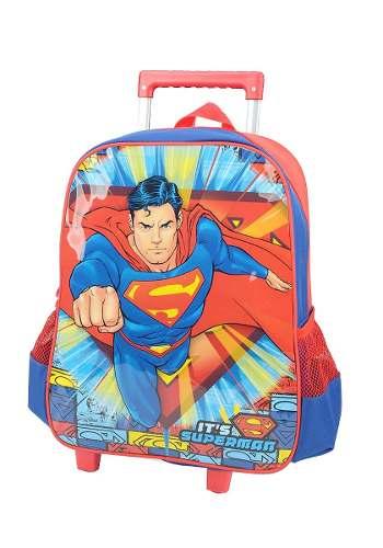 Mochila De Carrinho Escolar Superman Azul - IC32882SM